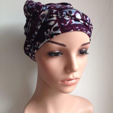 geknoopte bandana met paarse print